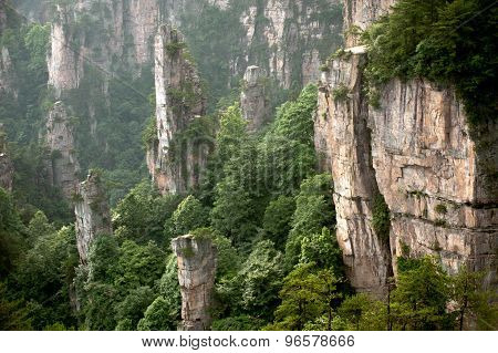 Mysterious Mountains Zhangjiajie, Hunan Province In China.