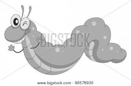 Worm winking and waving in black and white