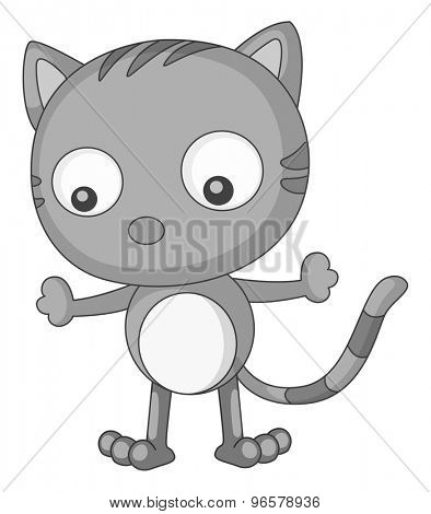 Standing cat alone in black and white