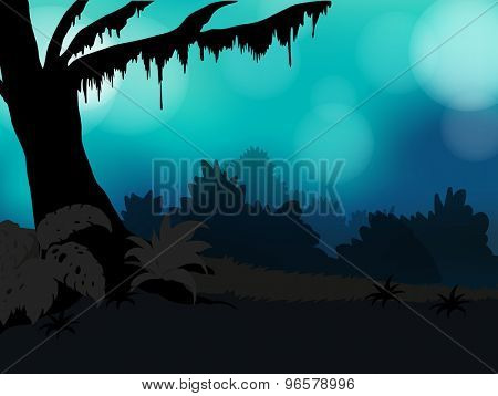 Silhouette of nature with trees and grass and faded blue sky