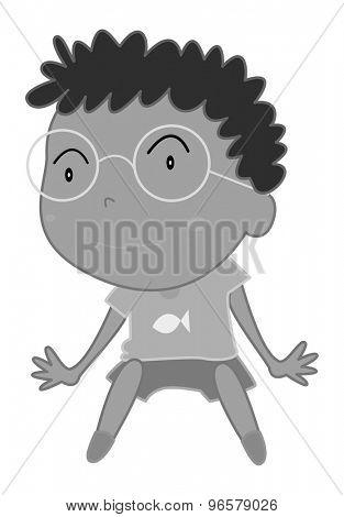 Boy wearing eyeglasses sitting in black and white