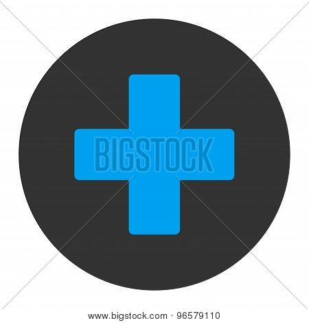 Plus flat blue and gray colors round button