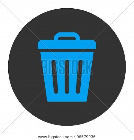 Trash Can flat blue and gray colors round button