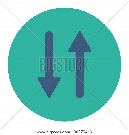 Arrows Exchange Vertical flat cobalt and cyan colors round button