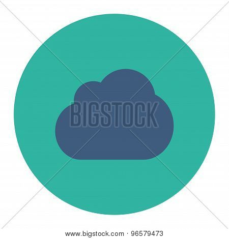 Cloud flat cobalt and cyan colors round button