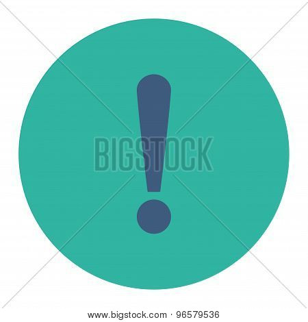 Exclamation Sign flat cobalt and cyan colors round button