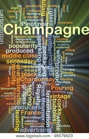 Background concept wordcloud illustration of champagne glowing light