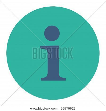 Info flat cobalt and cyan colors round button