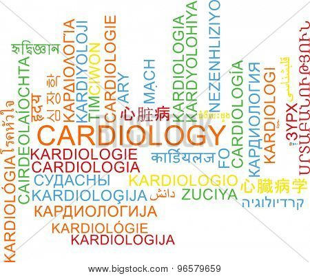 Background concept wordcloud multilanguage international many language illustration of cardiology