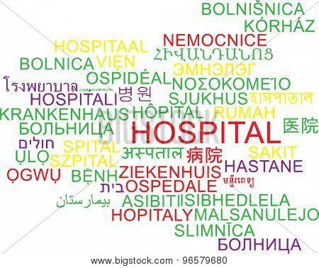 Background concept wordcloud multilanguage international many language illustration of hospital