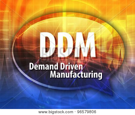 word speech bubble illustration of business acronym term DDM Demand Driven Manufacturing
