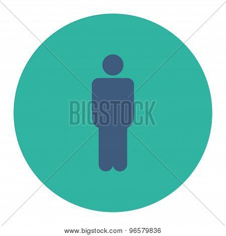 Man flat cobalt and cyan colors round button
