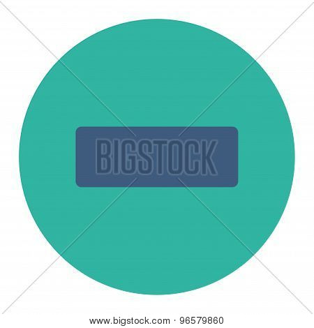 Minus flat cobalt and cyan colors round button