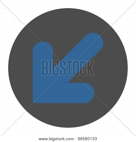 Arrow Down Left flat cobalt and gray colors round button