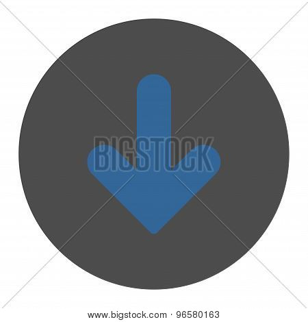 Arrow Down flat cobalt and gray colors round button