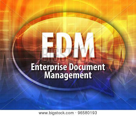 word speech bubble illustration of business acronym term EDM Enterprise Document Management