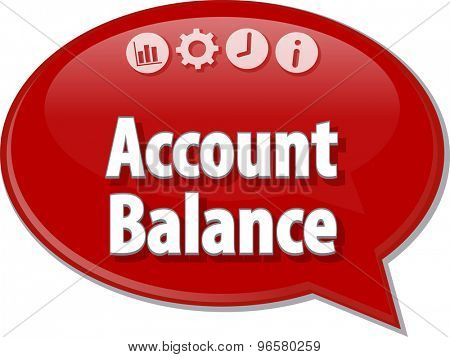 Speech bubble dialog illustration of business term saying Account balance