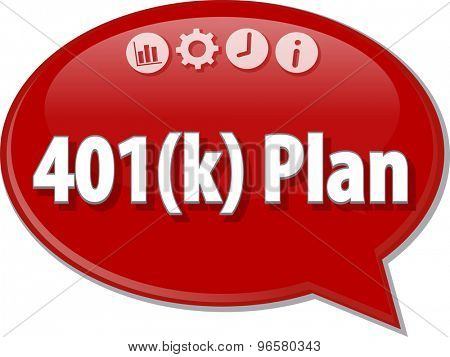 Speech bubble dialog illustration of business term saying 401(k) plan retirement savings