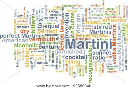 Background concept wordcloud illustration of martini