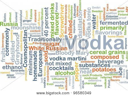 Background concept wordcloud illustration of vodka