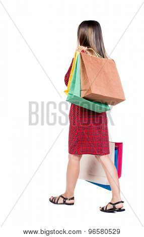 back view of going  woman  with shopping bags . beautiful girl in motion.  backside view of person. Isolated over white background. Long-haired girl in a red plaid dress is thrown behind shopping bags