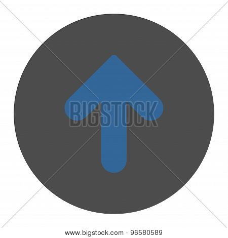 Arrow Up flat cobalt and gray colors round button