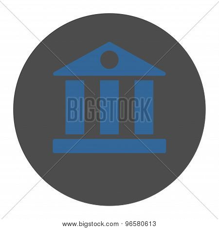 Bank flat cobalt and gray colors round button