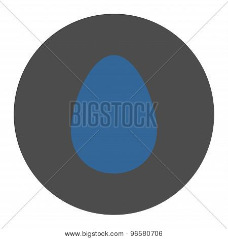 Egg flat cobalt and gray colors round button
