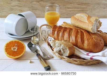 Breakfast With Baguette And Orange