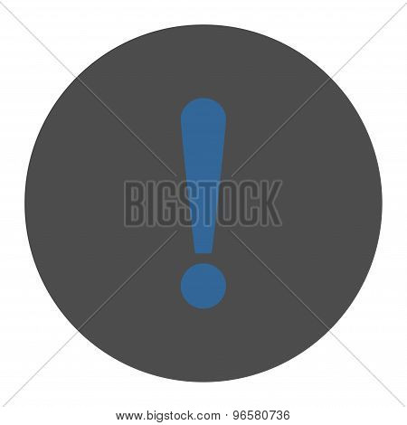 Exclamation Sign flat cobalt and gray colors round button