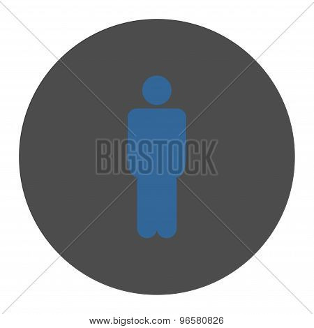 Man flat cobalt and gray colors round button