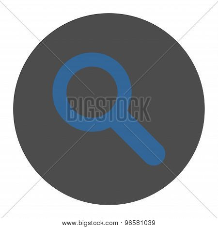 Search flat cobalt and gray colors round button