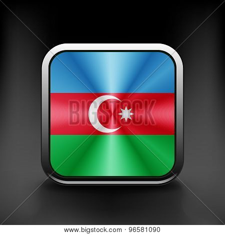 Square icon with flag of azerbaijan with reflection