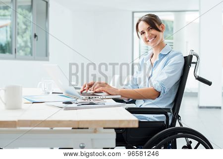 Smiling Business Woman In Wheelchair