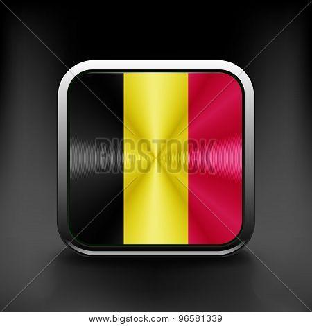 Belgium waving flag national travel icon country symbol button