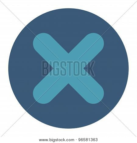 Cancel flat cyan and blue colors round button