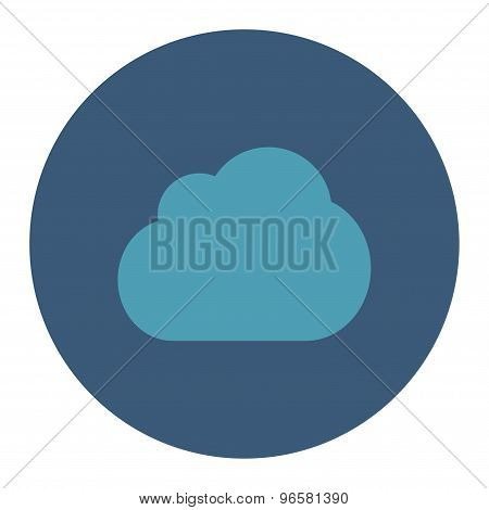 Cloud flat cyan and blue colors round button