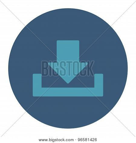 Download flat cyan and blue colors round button