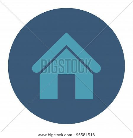 Home flat cyan and blue colors round button