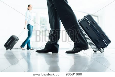 Passengers Moving With Luggage