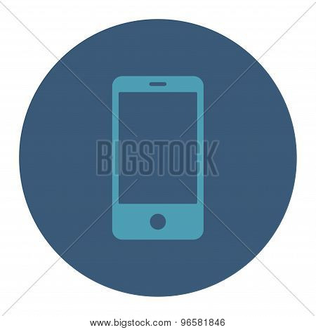 Smartphone flat cyan and blue colors round button