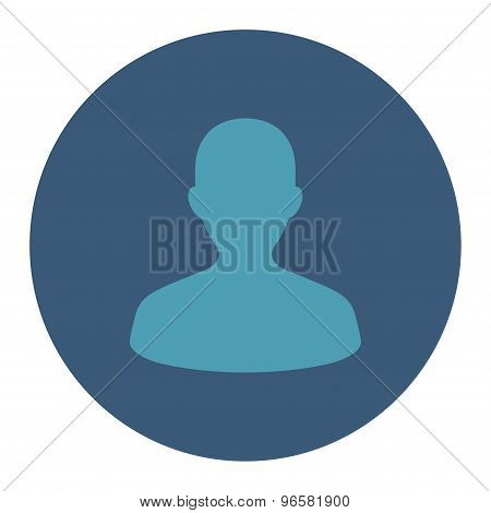 User flat cyan and blue colors round button