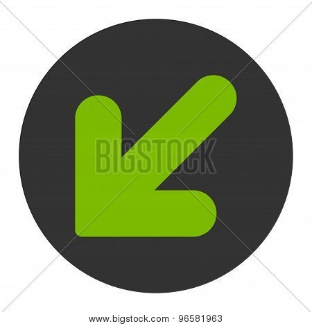 Arrow Down Left flat eco green and gray colors round button