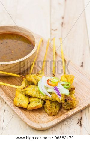 Grilled Pork Satay With Peanut Sauce.