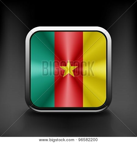 Cameroon icon flag national travel icon country symbol button