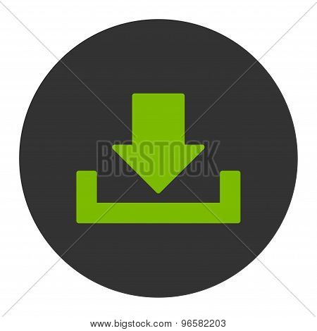 Download flat eco green and gray colors round button