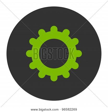 Gear flat eco green and gray colors round button