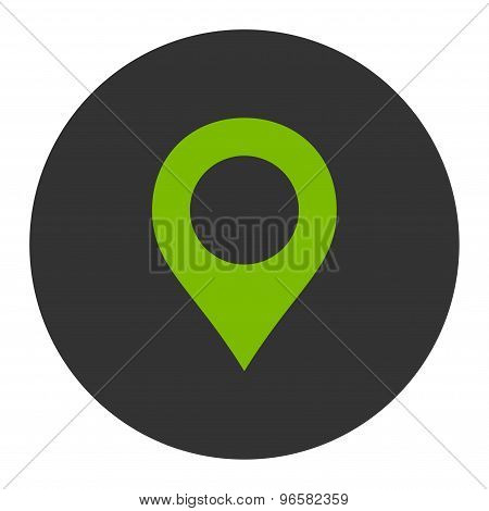 Map Marker flat eco green and gray colors round button