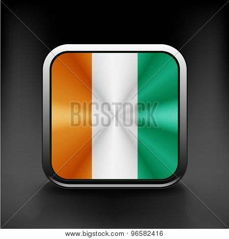 Square flag button series - Ivory Coast