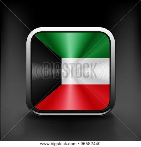 Kuwait flag button kuwait icon button